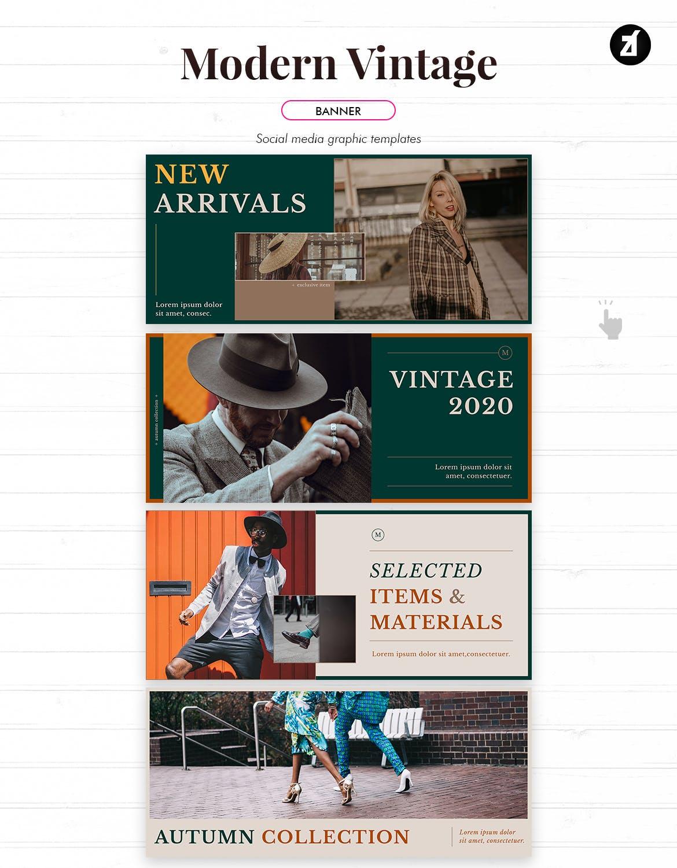 现代复古服装品牌推广新媒体电商海报PSD模板 Modern Vintage Social Media Graphic Templates插图7