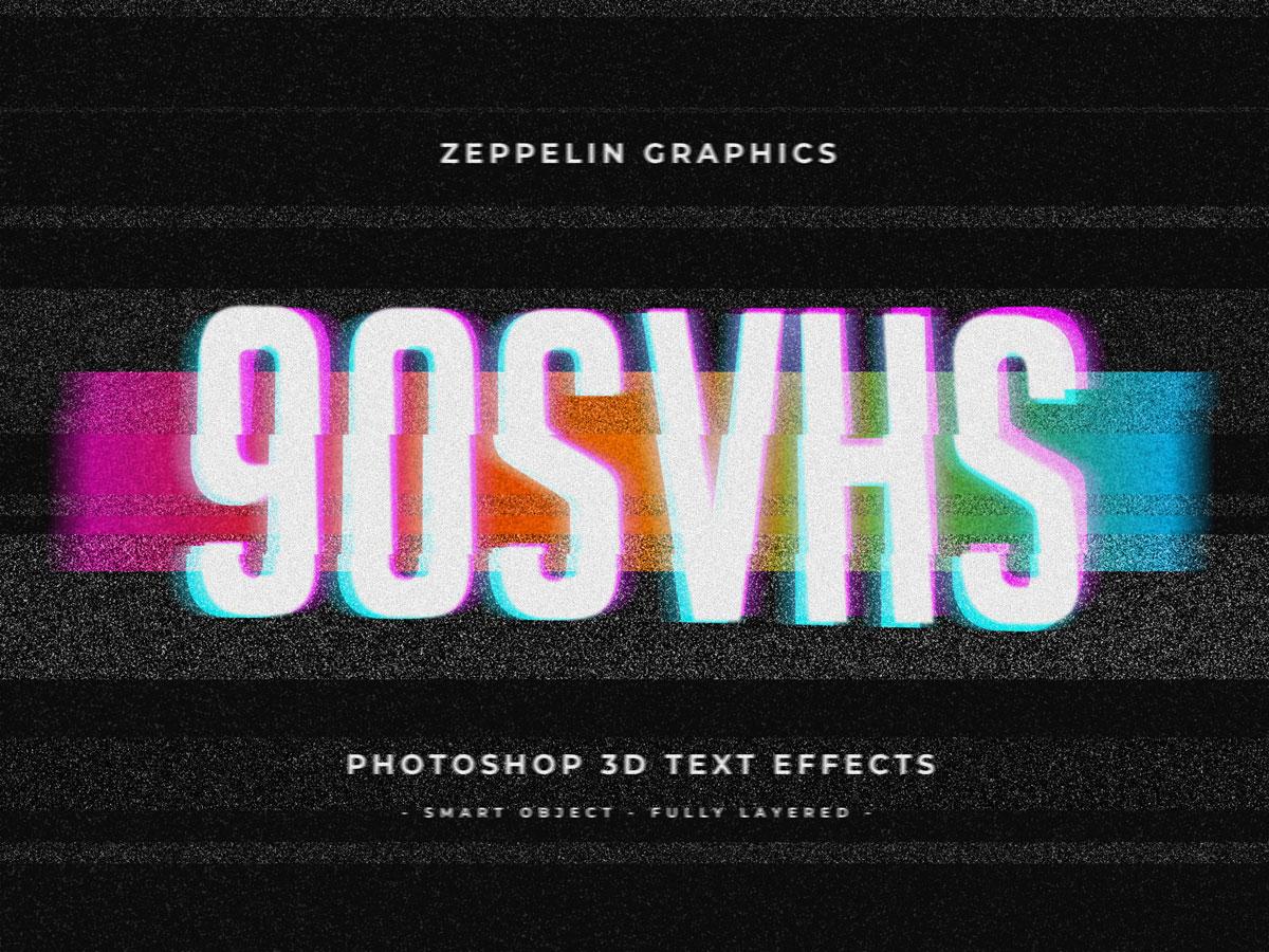 10个复古90年代3D立体标题徽标Logo设计PS样机模板素材 90s Text Effects插图7