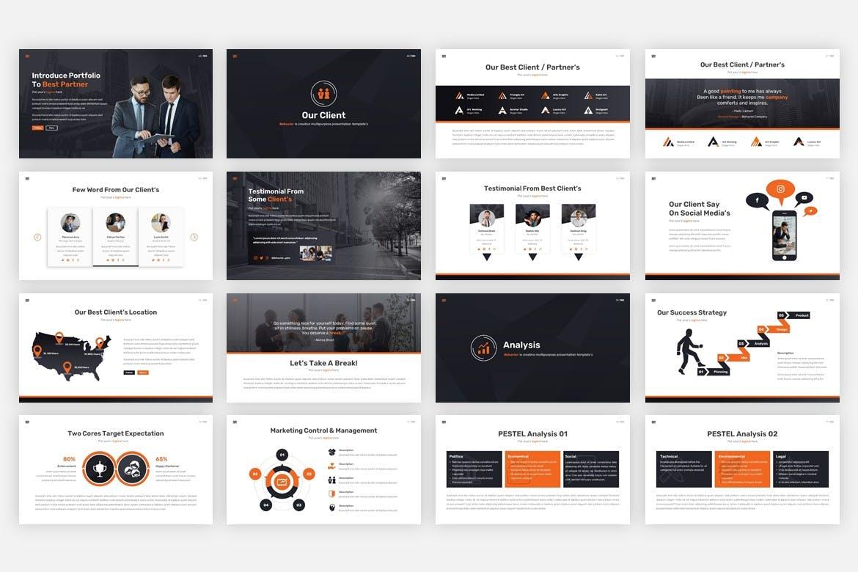 多用途黑白色系商业幻灯片模版 Behavior – Multipurpose Google Slides Template插图7