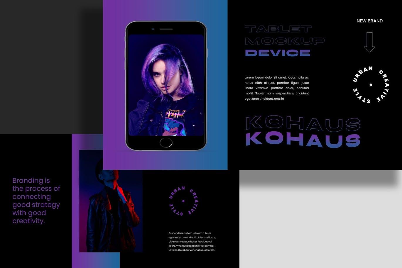 潮流霓虹效果摄影作品集设计Keynote演示文稿模板 Kohaus Keynote Template插图8