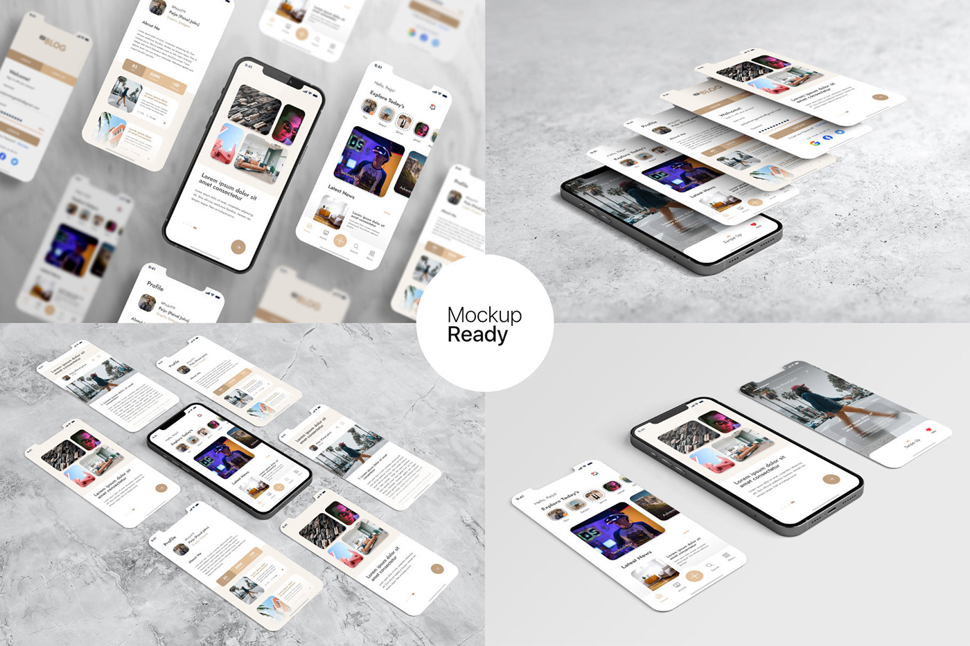 15个自适应网页APP界面设计苹果设备屏幕演示样机模板 UI/UX App Presentation – Phone & Notebook Mockup插图8