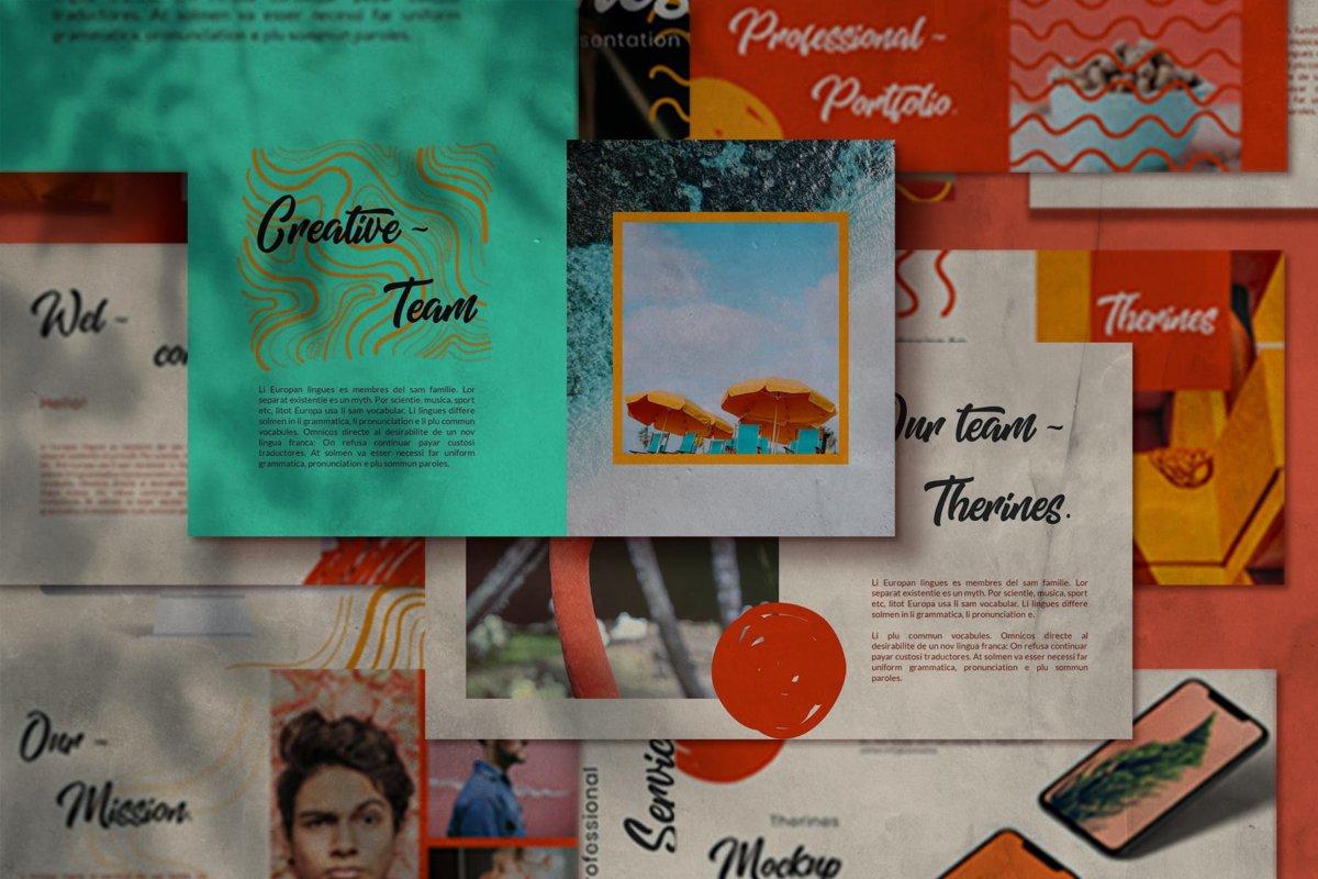 简约清新摄影作品集演示文稿设计ppt模板 Therines – Power point Template插图8