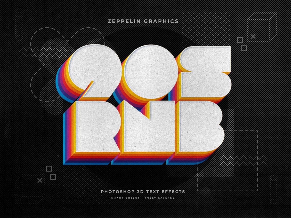 10个复古90年代3D立体标题徽标Logo设计PS样机模板素材 90s Text Effects插图6