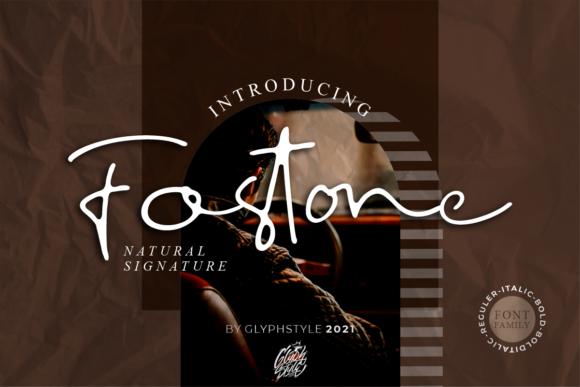 时尚优雅标题徽标Logo设计手写英文字体 Fostone Natural Signature Font插图