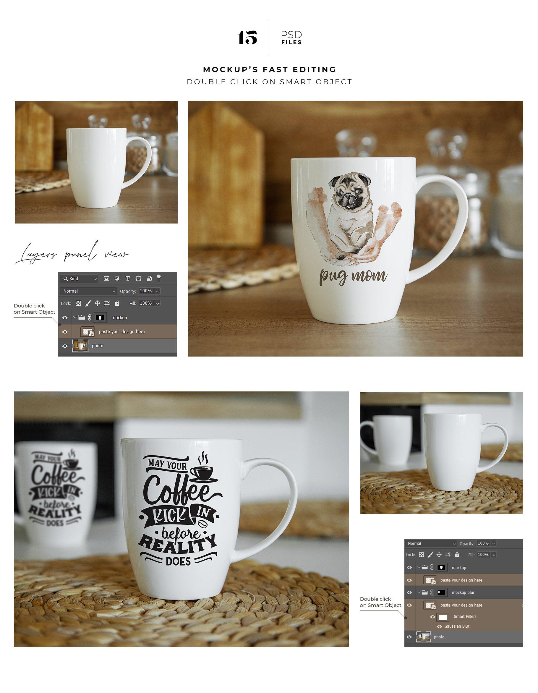 15个陶瓷马克咖啡杯印花图案设计展示贴图样机合集 Coffee Mug Mockup Set插图1