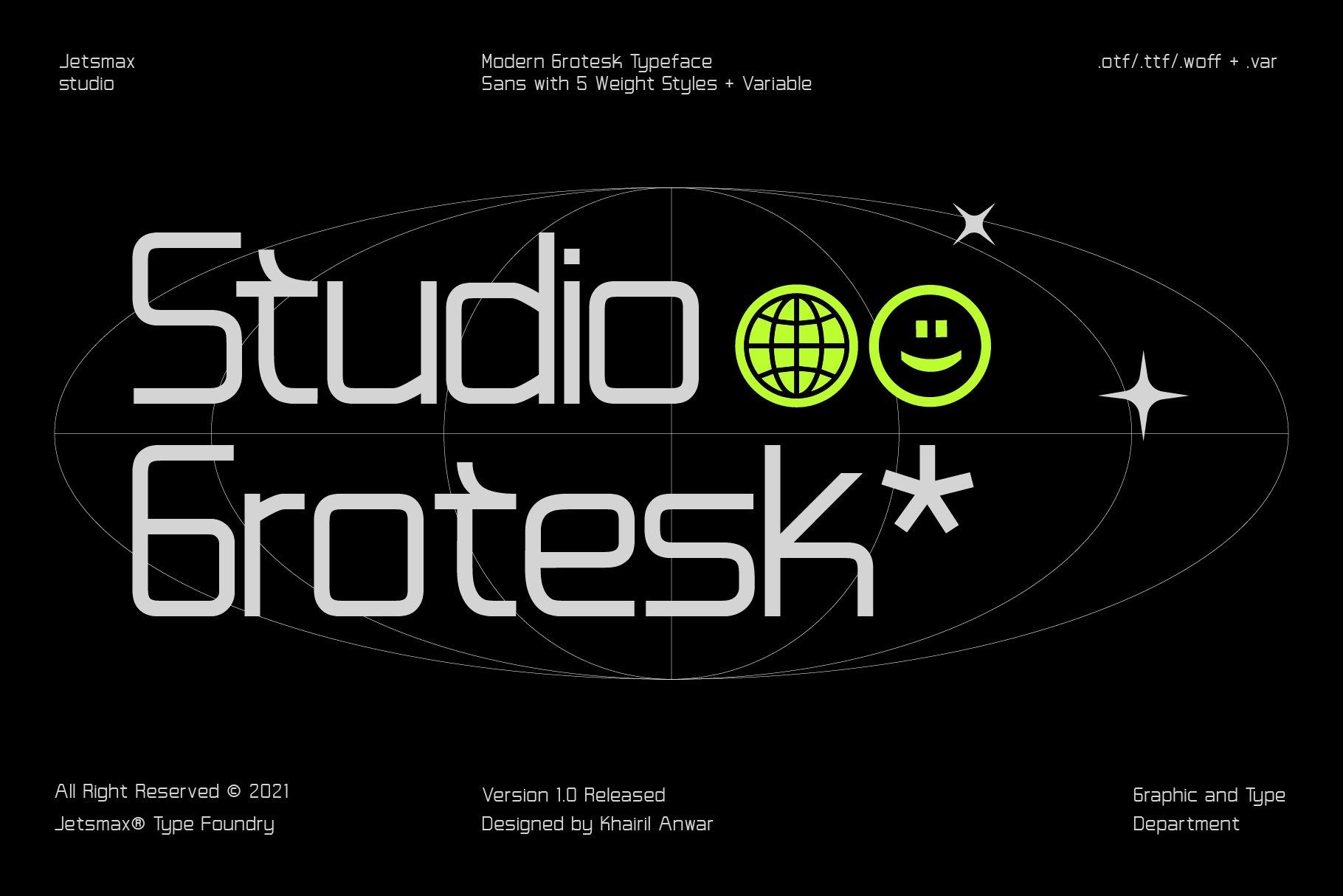 [单独购买] 潮流未来科技酸性艺术海报标题品牌Logo设计无衬线英文字体素材 Studio Grotesk Font插图