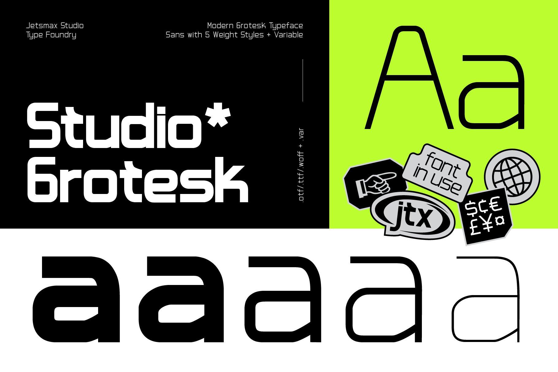 [单独购买] 潮流未来科技酸性艺术海报标题品牌Logo设计无衬线英文字体素材 Studio Grotesk Font插图9