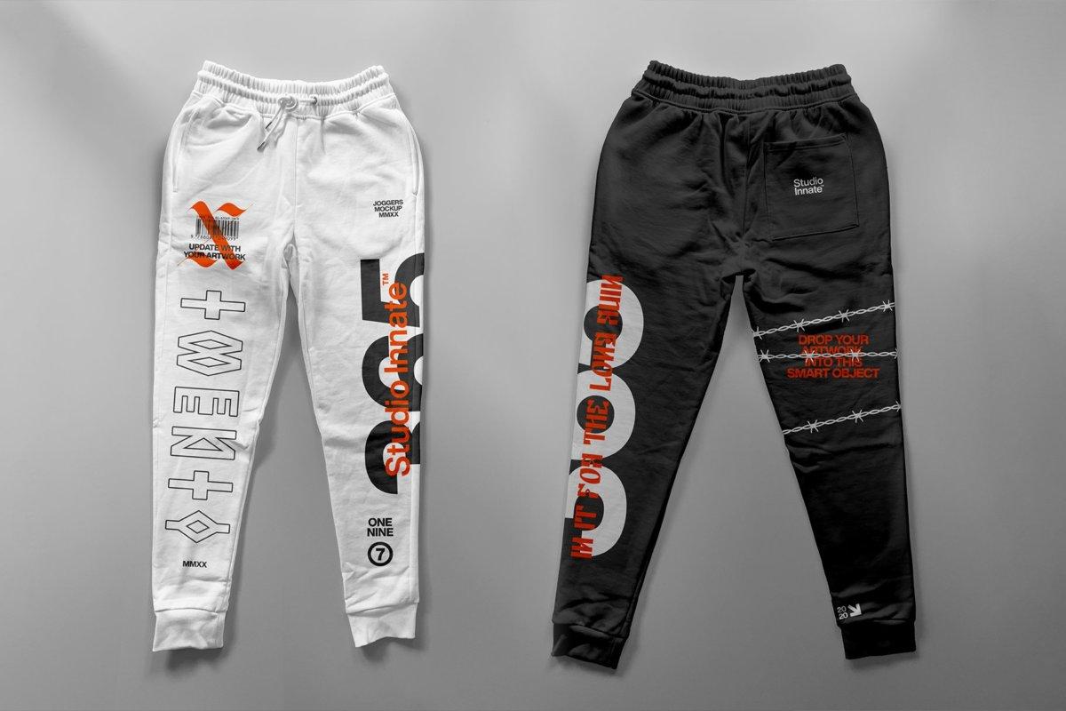 潮流跑步运动裤印花图案设计贴图样机套装 Sweatpants – Mockup Bundle插图