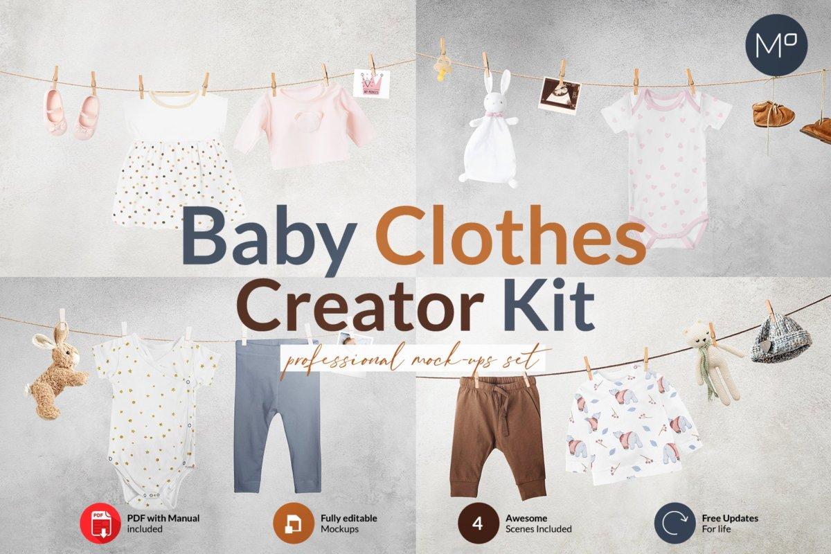 时尚婴儿连衣服装印花图案设计贴图样机 Baby Clothes Creator Kit Mock-ups插图