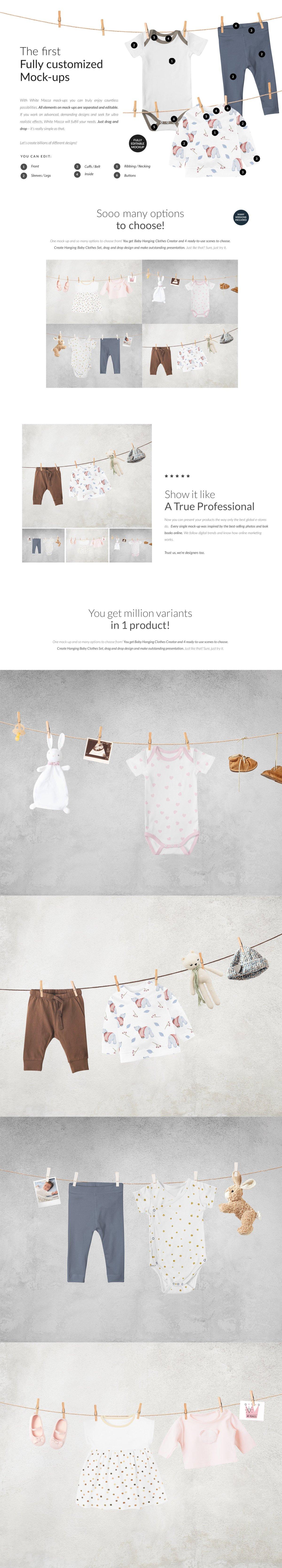 时尚婴儿连衣服装印花图案设计贴图样机 Baby Clothes Creator Kit Mock-ups插图1