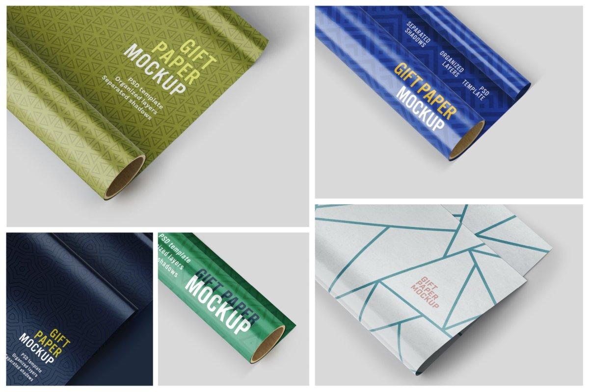 时尚礼品包装纸设计贴图样机PSD模版合集 Gift Wrapping Paper Mockup Set插图1
