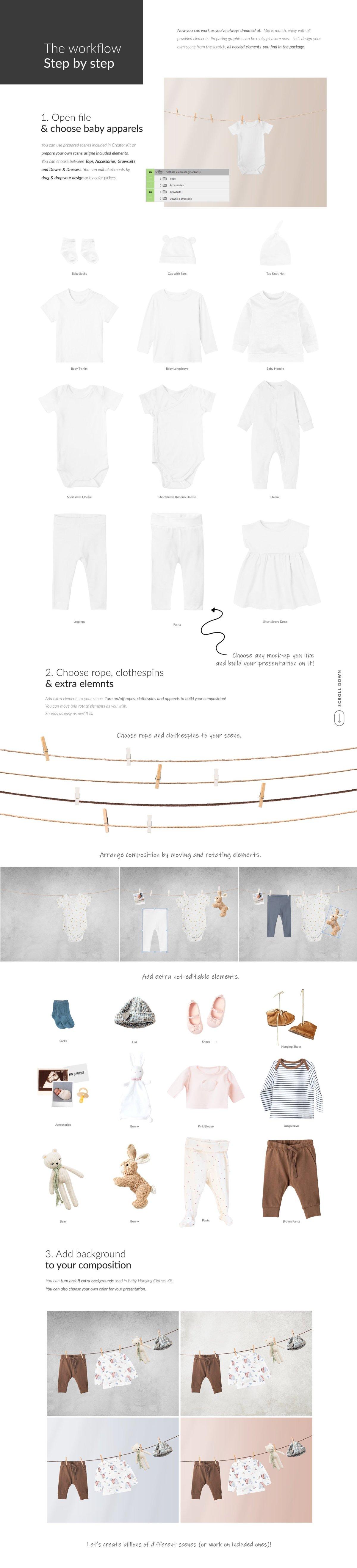 时尚婴儿连衣服装印花图案设计贴图样机 Baby Clothes Creator Kit Mock-ups插图2