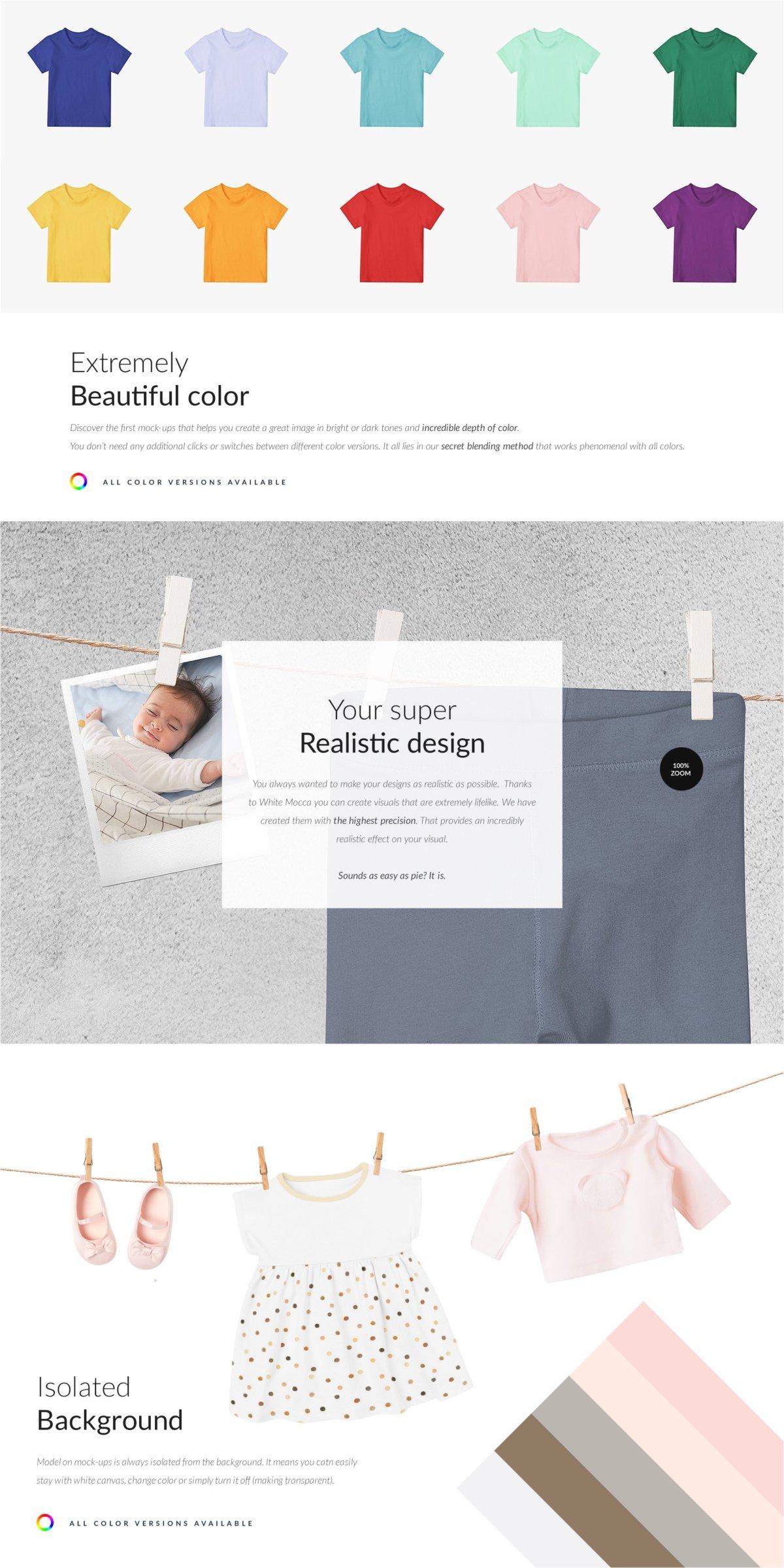 时尚婴儿连衣服装印花图案设计贴图样机 Baby Clothes Creator Kit Mock-ups插图3