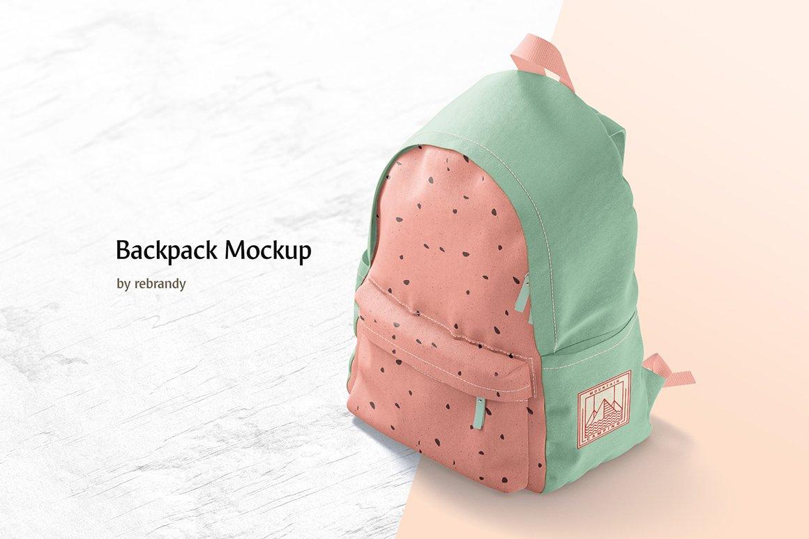 时尚女式背包印花图案设计贴图样机 Backpack Mockup插图