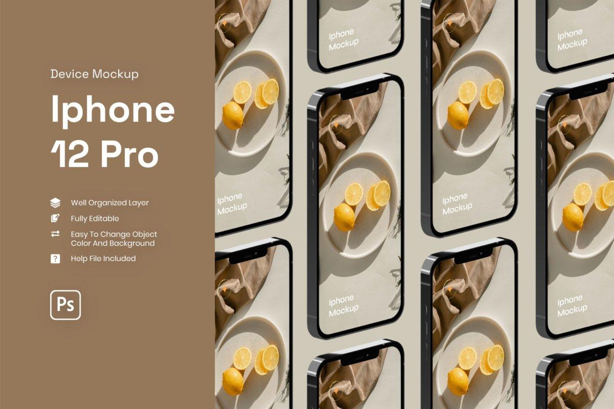 时尚APP应用程序界面设计iPhone 12 Pro屏幕演示样机 Iphone 12 Pro Mockup插图
