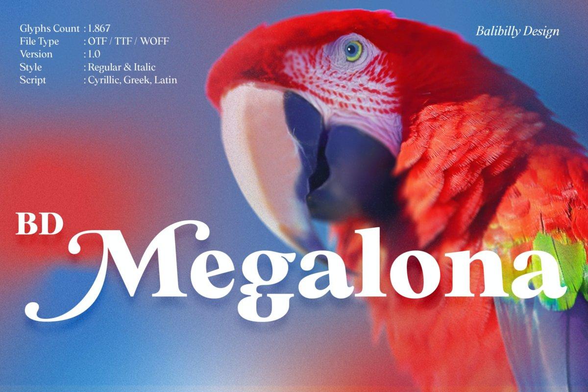 时尚复古海报标题徽标Logo设计衬线英文字体素材 BD Megalona | Text Serif Font Family插图