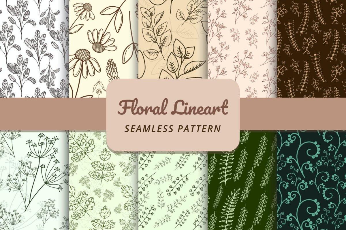 精美花卉树叶艺术矢量线条无缝隙图案设计素材 Floral Lineart Seamless Pattern插图