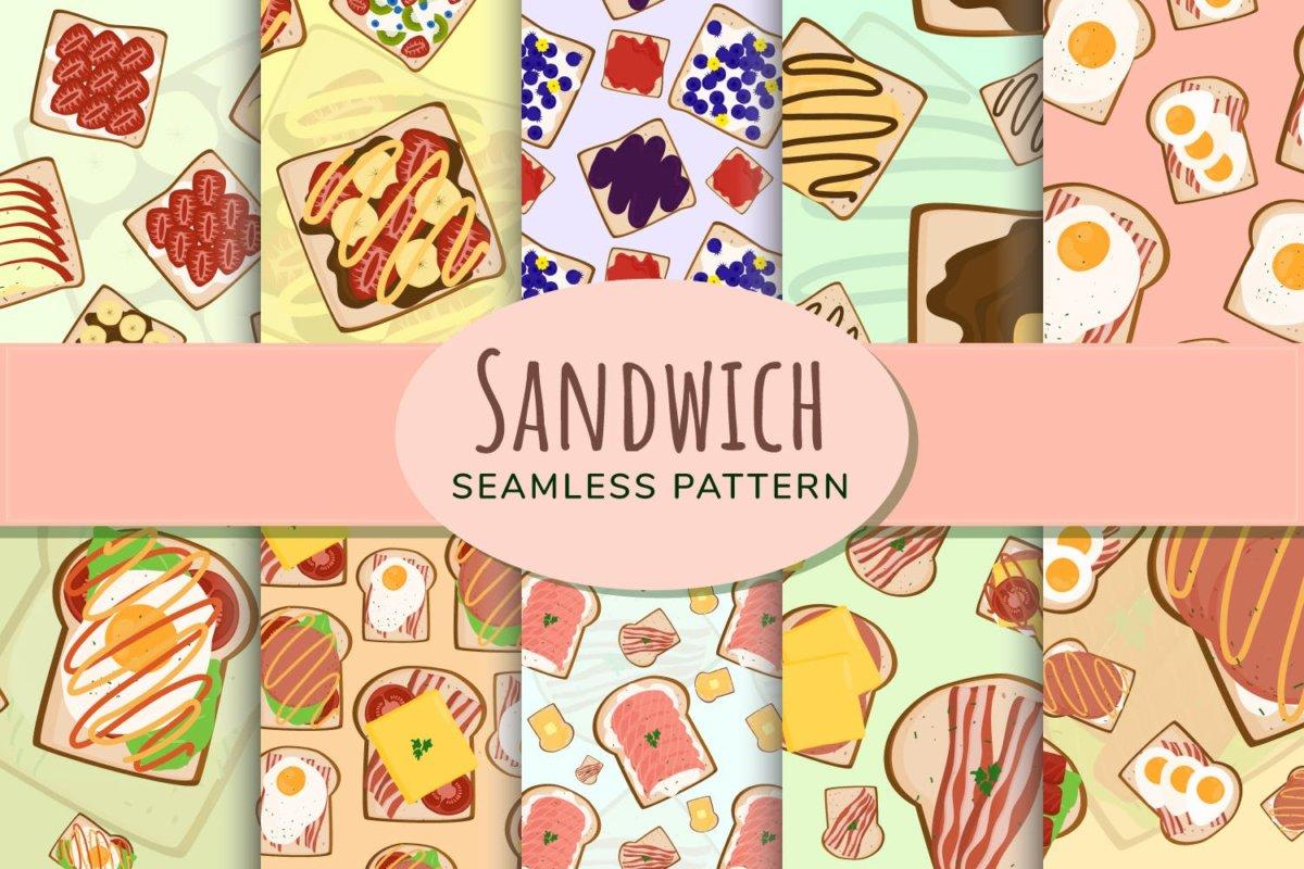 时尚三明治手绘插画PNG透明背景图片 Sandwich Seamless Pattern插图