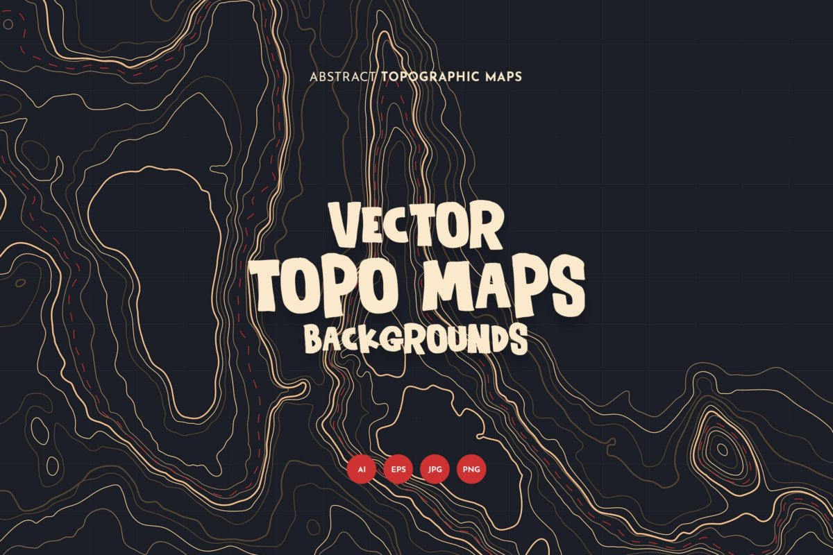 10款抽象地形图线条背景矢量设计素材 Topographic Map Backgrounds插图