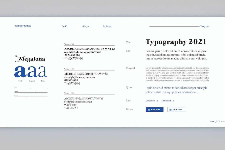 时尚复古海报标题徽标Logo设计衬线英文字体素材 BD Megalona | Text Serif Font Family插图9