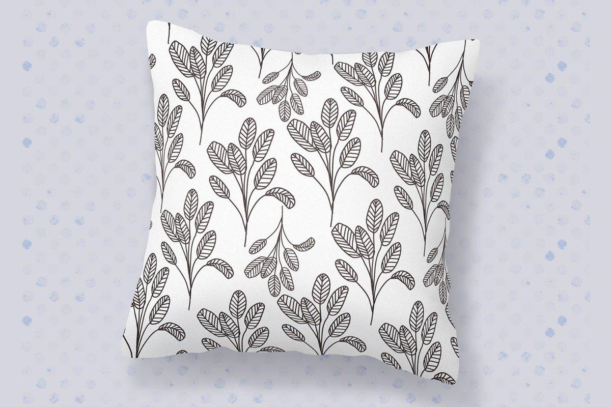 精美花卉树叶艺术矢量线条无缝隙图案设计素材 Floral Lineart Seamless Pattern插图1