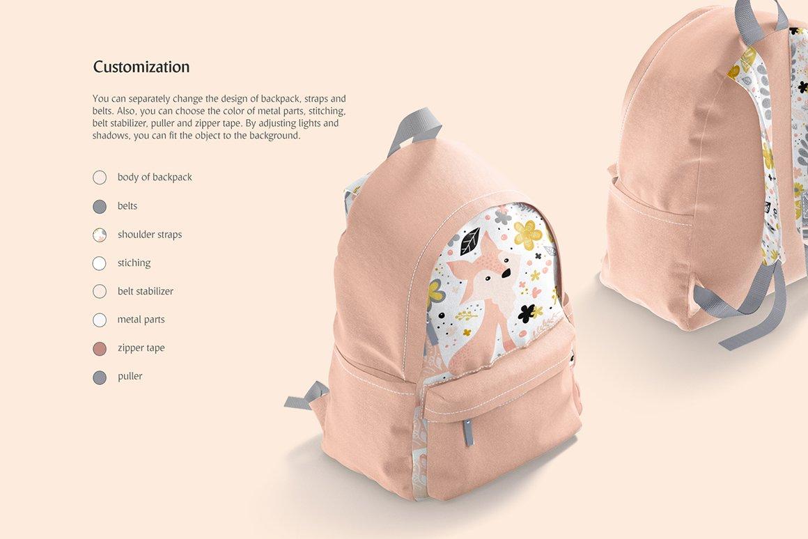 时尚女式背包印花图案设计贴图样机 Backpack Mockup插图2