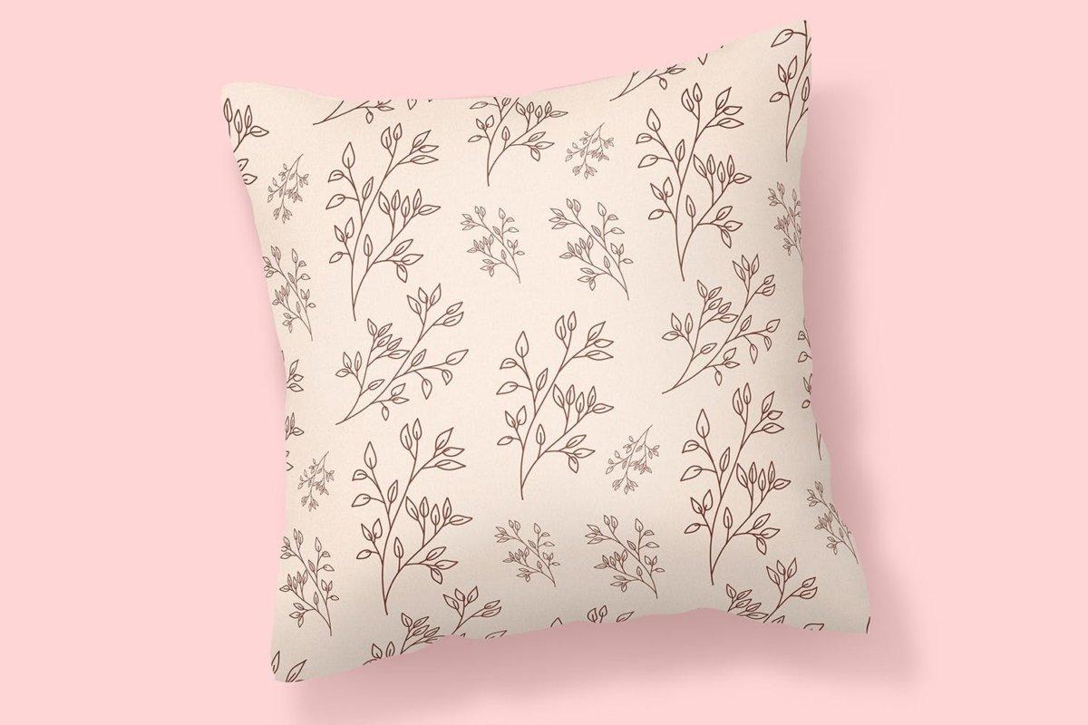 精美花卉树叶艺术矢量线条无缝隙图案设计素材 Floral Lineart Seamless Pattern插图4
