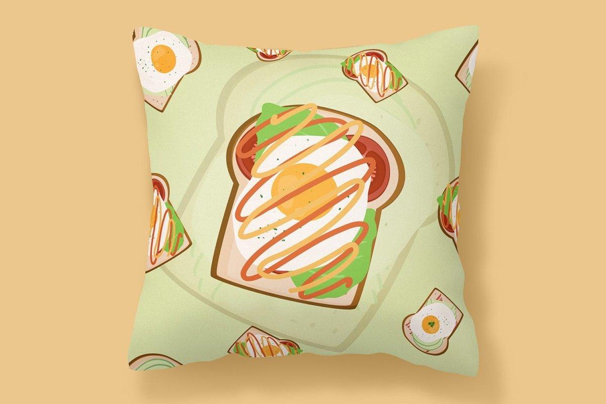 时尚三明治手绘插画PNG透明背景图片 Sandwich Seamless Pattern插图5