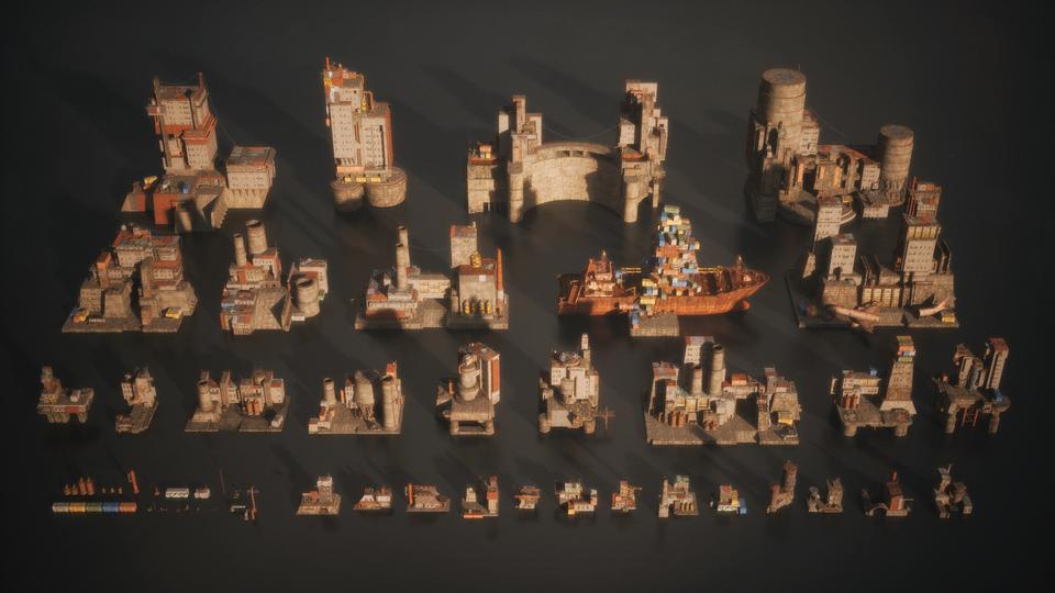 超大荒芜之地废墟工厂场景3D模型 Kitbash3D – Wasteland插图6