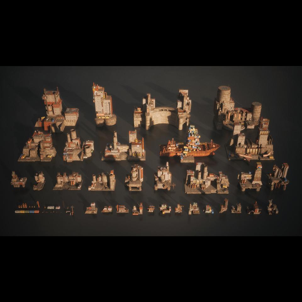 超大荒芜之地废墟工厂场景3D模型 Kitbash3D – Wasteland插图1