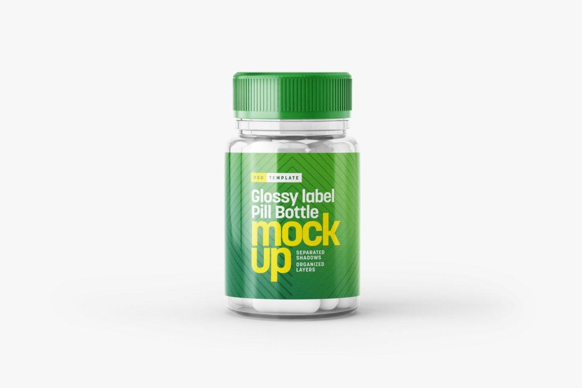 6款高清透明塑料药瓶设计贴图样机合集 Transparent Pill Bottle Mockup Set插图6