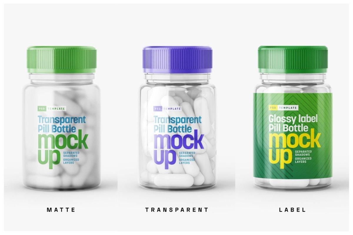 6款高清透明塑料药瓶设计贴图样机合集 Transparent Pill Bottle Mockup Set插图8