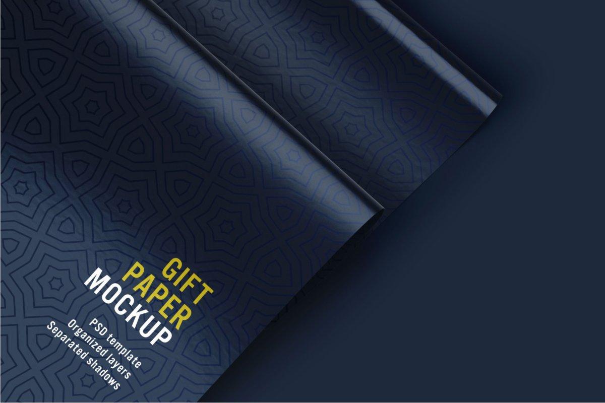 时尚礼品包装纸设计贴图样机PSD模版合集 Gift Wrapping Paper Mockup Set插图7