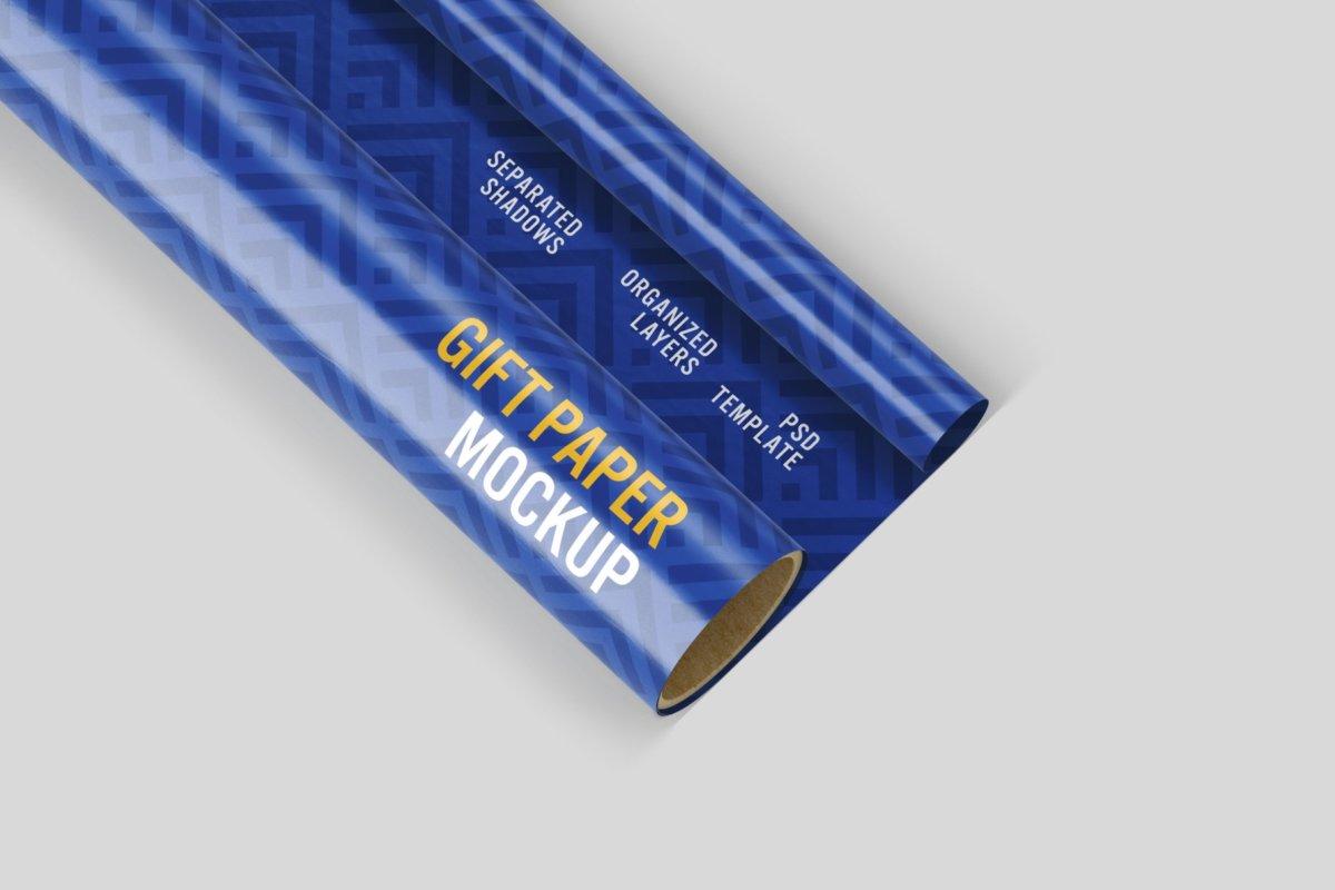 时尚礼品包装纸设计贴图样机PSD模版合集 Gift Wrapping Paper Mockup Set插图2