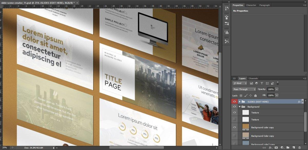 逼真带阴影幻灯片演示文稿设计展示贴图PSD样机模版 Shadows + Slides Mockup Bundle (PSD)插图1